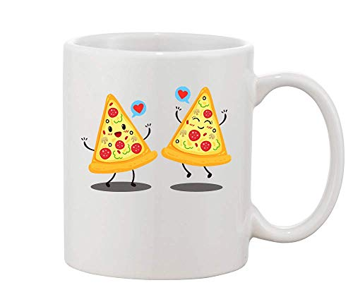 Finest Prints Two Pizza Slices Fell In Love White Ceramic Coffee and Tea Mug