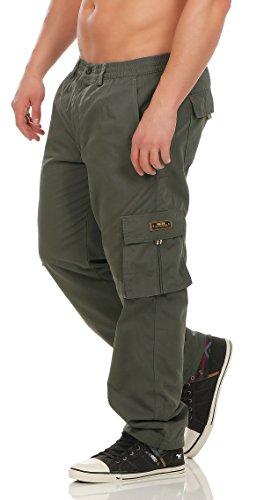 Fashion Herren Cargo Hose mit Dehnbund warm gefütterte Thermohose - mehrere Farben ID529, Größe:3XL;Farbe:Dunkelgrün