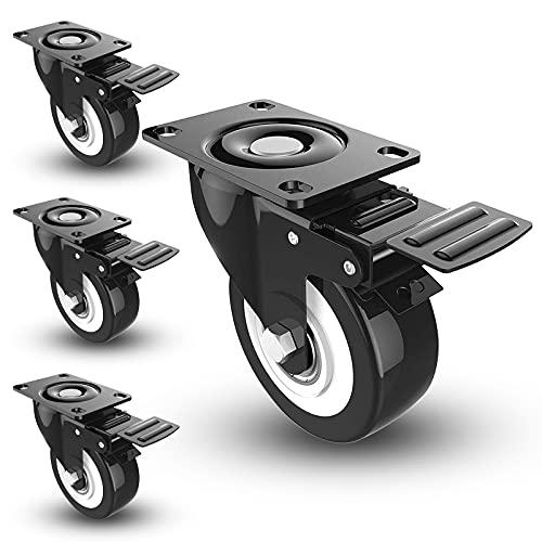 Atleyimu Ruedas para muebles,Ruedas industriales,Ruedas con freno,Ruedas auxiliares de transporte de muebles pesados, con una capacidad de carga de hasta 400 kg (4 piezas)