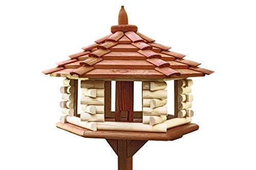 Neue exklusive 3XL Holz Vogel Tisch & Futterhaus & vogelfutters vor Hopper für Getreide mit Ständer