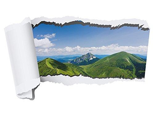 GRAZDesign Wandsticker für Wohnzimmer - Fototapete Wand Durchbruch - Wandtattoo Natur/Berge / 70x40cm / 721073_40