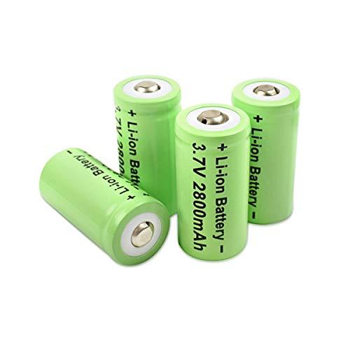 Professor Optiken 4er Set CR123A Lithium-Ionen-Akku, 3,7 Volt mit 2800 mAh inklusive Batteriehülle/Case - Akkus für Nachtsichtgeräte, Wärmebildkameras, Überwachungskameras (Arlo), etc.