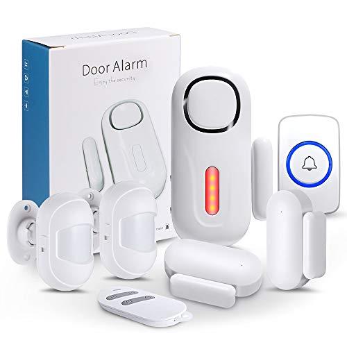 KERUI Tür Fenster Alarmanlage mit 1 Fernbedienung 2 Tür- und Fenstersensoren 1 Türklingelknopf Erweiterbarer 120dB Sirene Einbruchschutz Alarmanlage Home Alarm Sicherheits System Wireless Kit