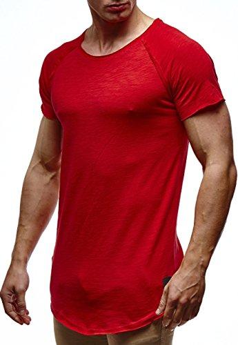Leif Nelson Herren Sommer T-Shirt Rundhals-Ausschnitt Slim Fit Baumwolle-Anteil Moderner Männer T-Shirt Crew Neck Hoodie-Sweatshirt Kurzarm lang LN6339 Rot X-Large