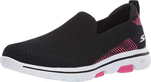 Skechers Women's GO Walk 5 - PRIZED Shoe, Black/Pink, 7.5 M US
