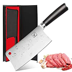 Multi-functional Cleaver: Multipurpose chef's knife designed for chopping, mincing, slicing, and dicing comes with a HRC( Rockwell Hardness Scale) of 60-62 and a sharp edge which ensures maximum cutting performance and durability. Sharpeness: The bla...