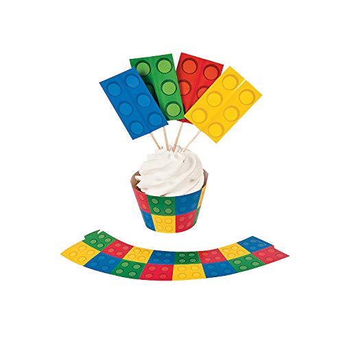 Color Building Brick Party Cupcake Wrappers with Picks - 50 of Each