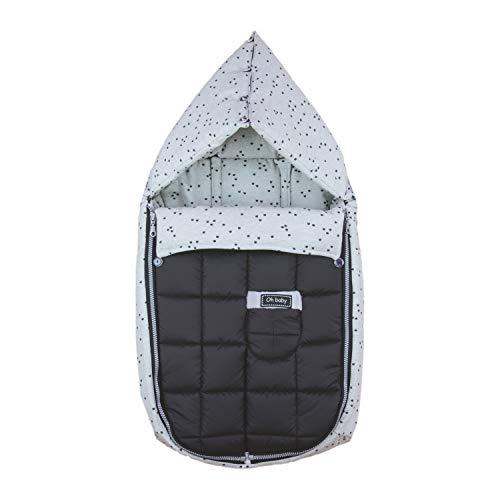 Saco/Arrullo para Capazo con arnes y capucha integrada Rosy Fuentes en color negro