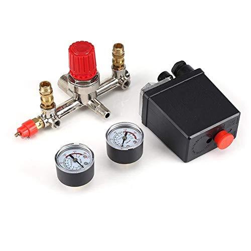 ShiSyan Interruptor de Control de la presión, compresor de Aire de presión Interruptor de Control de válvula reguladora 90-120 PSI con el Doble de medidores Válvulas