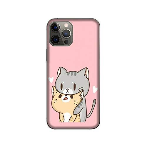 Funda iPhone 12 Pro Max Carcasa Apple iPhone 12 Pro Max Animales divertidos abrazos de gatos enamorados / Cubierta Imprimir también en los lados / Cover Antideslizante Antideslizante Antiarañazos Re