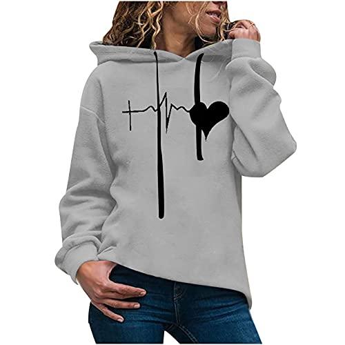 FMYONF Sudadera con capucha para mujer de otoo e invierno, de gran tamao, con estampado de amor, manga larga, sudadera con capucha, moderna y cmoda, con cordn y bolsillos., gris, XL