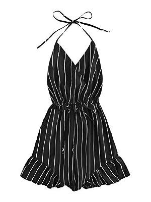 SweatyRocks Women's Sexy Halter V Neck Backless Floral Print Short Romper Jumpsuit Black XS
