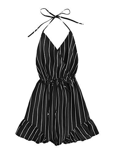 SweatyRocks Women's Sexy Halter V Neck Backless Floral Print Short Romper Jumpsuit Black L
