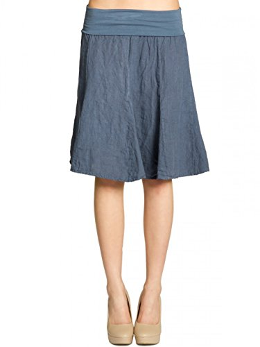 Caspar RO014 Damen Leinenrock mit figurfreundlichem Stretch Bund, Farbe:Jeans blau, Größe:S-M
