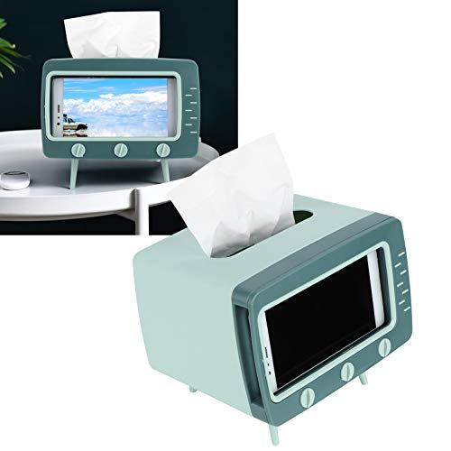 minifinker Caja de pañuelos, Doble Almacenamiento cuádruple Verde Hierba Oscura ABS + PP Dispensador de pañuelos Retro Lindo para Sala de Estar para Escritorio