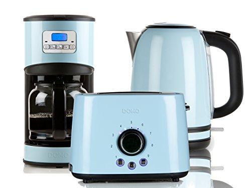 Edelstahl Frühstücksset im Retro Design in pastell blau Kaffeemaschine Toaster und Wassekocher