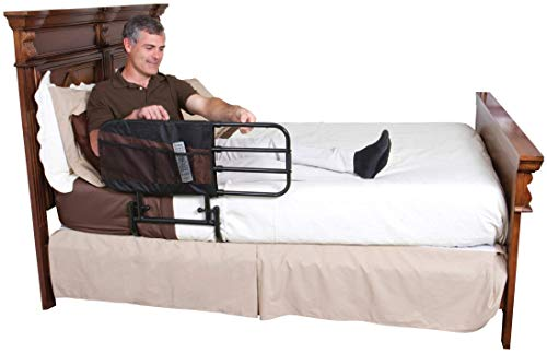 Stander EZ Adjust Bed Rail, Adjustable Senior Bed Rail and Bed Assist Grab Bar for Elderly Adults with Organizer Pouch