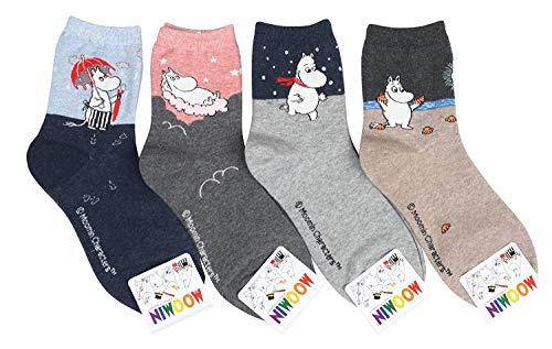 Calcetines para mujer 3-6 pares por Happytree, divertidos gatos y perros, dibujos animados, diseño de animales dulces, buena idea para regalo, talla única (personajes de Moomin).