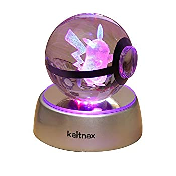 3D Crystal Ball Lamp Laser Engraving Image in The Ball LED Color Change Base  Multi-Colored-Pi