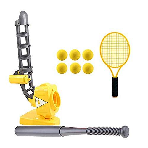 LGFB Portable Kind Tennis Baseball Pitching Machines Outdoor-Sport-Spiel Automatische Ballmaschine Geben Sie einen Baseballschläger Tennisschläger und 6pcs Ball