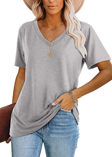 Womens Casual Tshirts Short Sleeve Loose Fit Tops for Teen Girls Gray XL