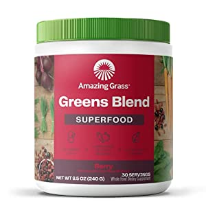Amazing Grass Greens Blend Superfood: Super Greens Powder with Spirulina, Chlorella, Digestive Enzymes & Probiotics, Berry, 30 Servings (Packaging May Vary) from Amazing Grass