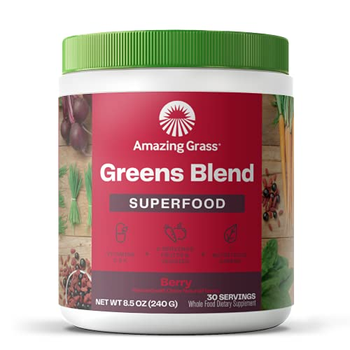 Amazing Grass Greens Blend Superfood: Super Greens Powder with Spirulina, Chlorella, Beet Root Powder, Digestive Enzymes & Probiotics, Berry, 30 Servings (Packaging May Vary)