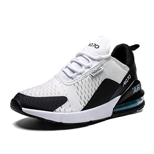Zapatillas de Deportes Hombre Mujer Zapatos Deportivos Libre para Correr Calzado Sneakers Running 10WhiteBlackBlue36EU