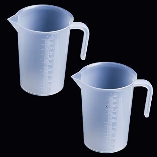 TSKDKIT 2 vasos medidores de 1 L de 1000 ml grandes vasos medidores de plástico de 1 l jarros graduados para cocinar agua fría, té, zumo, cerveza y leche