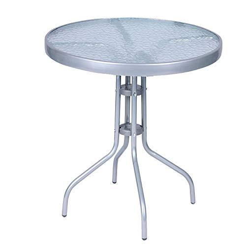 Mojawo Balkontisch Bistrotisch Glasplatte und pulverbeschichtetes Metallgestell Rund Ø 60 H70cm Silberfarben Gartentisch Glastisch