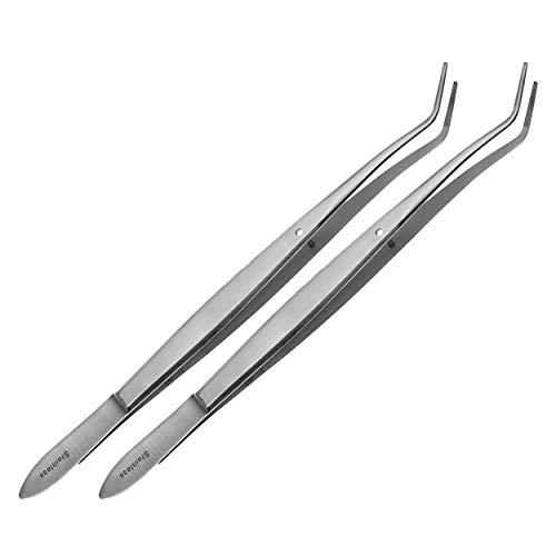 May - 2X teken tang voor hond & katten - teken pincet met fixeerstift - pincet om teken te verwijderen - gebogen punt - roestvrij staal