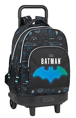 Safta Mochila Escolar con Carro Incluido y Espalda Acolchada de Batman Bat-Tech, 330x220x450 mm, Negro