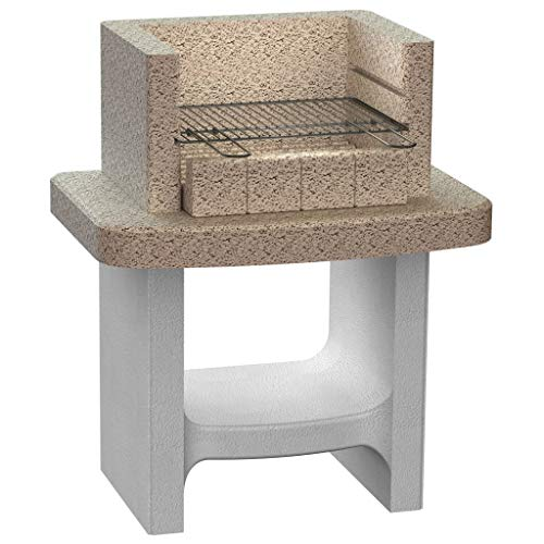 vidaXL Concrete Charcoal BBQ Stand with Shelf Outdoor Patio Barbecue Grill