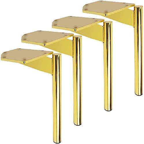 FTYYSWL 4X Metallmöbelfüße, Goldsofafüße, Eisenmöbelbeine, Bettbein, Schrankfüße, DIY Ersatzbeinbeine, Möbelhalterbein, für Couch Schreibtisch Küche