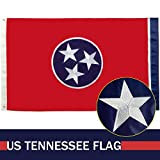 GORISE Tennessee State Flag 3x5 ft Embroidered Stars Sewn Stripes with Brass Grommets - Tennessee Flag Outdoor UV Protected TN Flag ((Tennessee Flag 3x5)