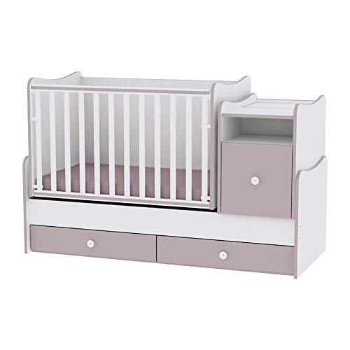 Combi-babybed Trend Plus wit / Cappucino Lorelli (het bed verandert in jeugd bed, kantoor, multifunctionele kast)