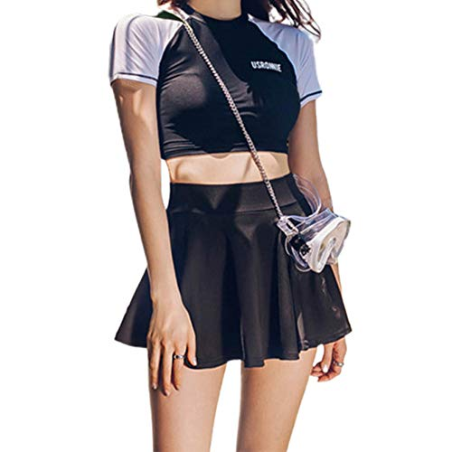 Metermall Fashion For Women Bikini Short Sleeve Sports Tops + Skirt Set for Beach Swimming Wear