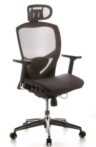 hjh OFFICE 657030 Sedia da ufficio / Sedia girevole VENUS ONE mesh grigio, sostegno lombare flessibile, braccioli regolabili, profondità regolabile, base in alluminio lucidato, schienale regolabile in altezza