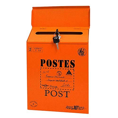 MOOUK Wandmontage Briefkasten Eisen Verschließbar Brief Post Kiste Heim Dekor Vintage Verzierungen Quadratisch Briefkasten - Orange, Einheitsgröße