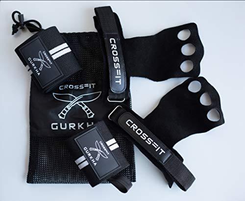 Gurkha 3 gaten lederen handgrepen met gewichtheffen pols ondersteuning banden, Palm bescherming handschoenen van Rips en tranen voor Gymnastiek, Crossfit, Pull-ups, gewichtheffen, WOD's