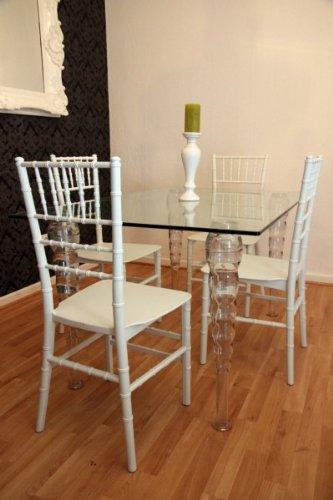 Casa Padrino Designer Acryl Esszimmer Set - Ghost Chair Table - Polycarbonat Möbel - 1 Tisch + 4 Stühle Designer Möbel Weiß Designer Möbel