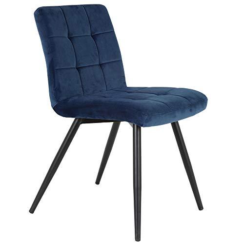 Light & Living - Juego de 2 sillas de comedor (terciopelo azul y metal), color negro