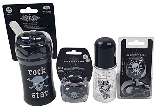 Rock Star Baby Geschenkset Pirat 4tlg Schnuller Schnullerkette Fläschchen Strohhalmbecher
