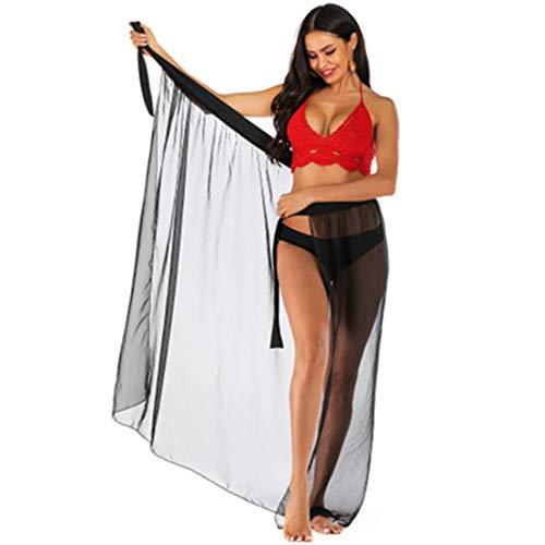 ZHER-LU Damen Strandkleid, Bikini-Abdeckung, transparenter Strandrock, Spitzenrock, unregelmäßiger sexy transparenter Rock L Schwarz