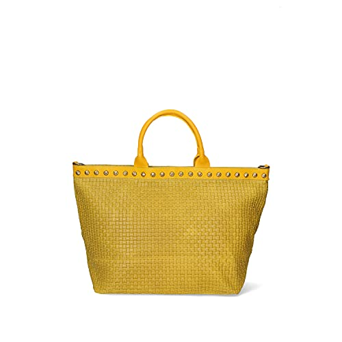 Chicca Borse Borsa tote donna borsa a spalla in pelle camoscio stampa intrecciata Vintage borsa grande italiana - Giallo