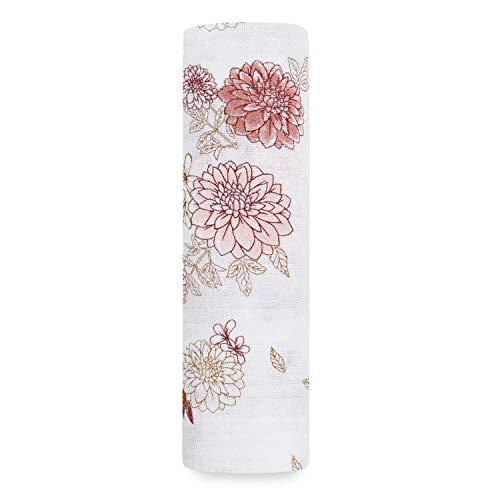 aden + anais - Maxi-lange grand format prélavé en mousseline 100% coton - Imprimé Dahlias - 120 cm x 120 cm