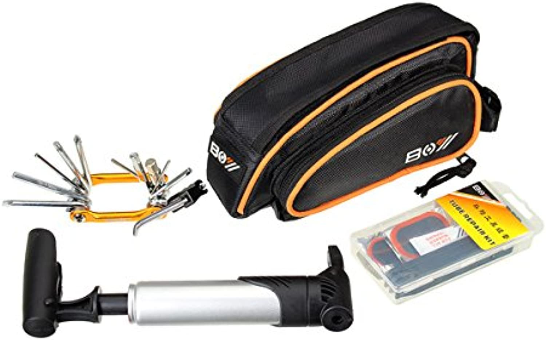 Exinnos Cycling Bike Repair Kit Tyre Box Mountain Bike Repair Tools Multifunction Folding Tool Storage Bag Inflator  Bike Tools