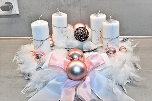 excl. Adventskranz weiß rosa 40 cm künstlich Weihnachten Adventsgesteck Deko Feder Kranz