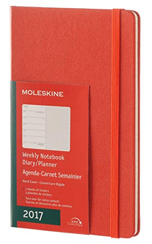 Moleskine 2017 Weekly Notebook, 12M, Large, Coral Orange, Hard Cover (5 x 8.25)