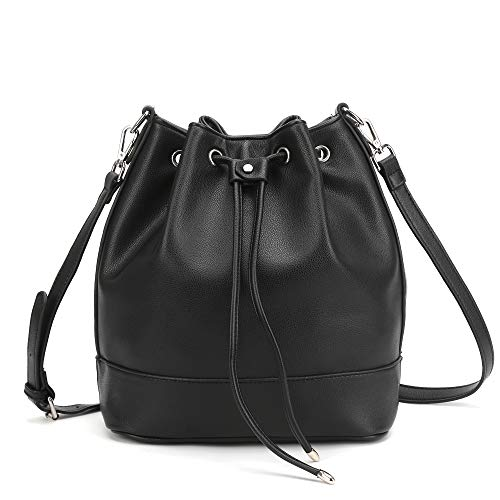 AFKOMST Bucket Bag for Women,Drawstring Purses and Handbags,Faux Leather with 2 Shoulder Straps,Black/L